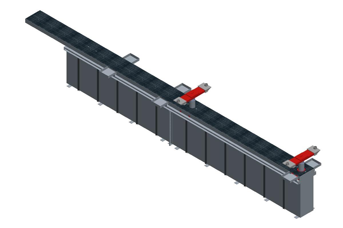 Modell: TH 5/2-W-VR  Ausführung: W-VR= Wannengrube mit Rahmen und versenkten Traversen inklusive Rollenabdeckung