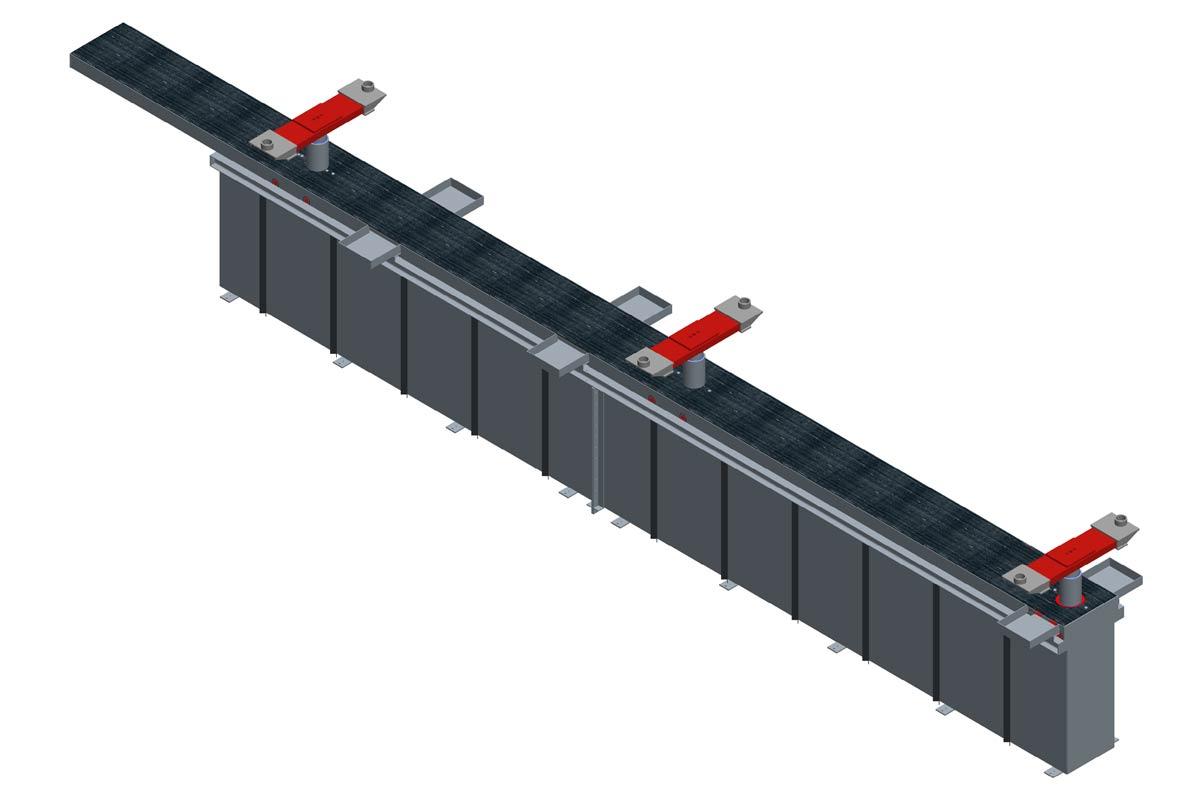 Modell: TH 10/3-W-VR  Ausführung: W-VR= Wannengrube mit Rahmen und versenkten Traversen inklusive Rollenabdeckung